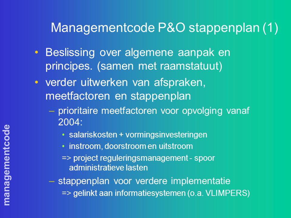 managementcode Managementcode P&O stappenplan (1) Beslissing over algemene aanpak en principes.