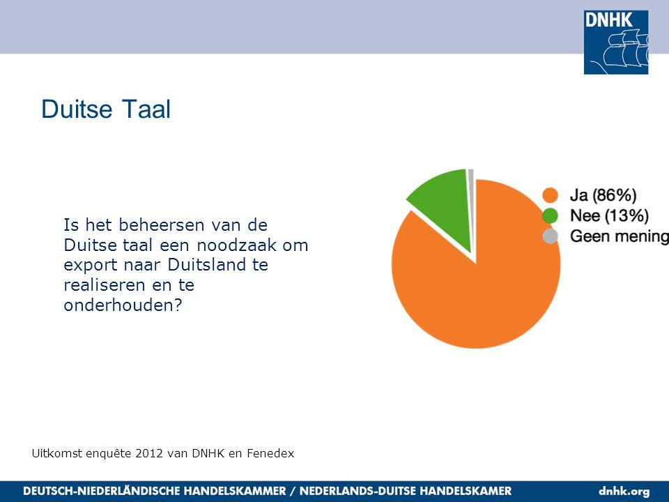Duitse Taal Uitkomst enquête 2012 van DNHK en Fenedex Is het beheersen van de Duitse taal een noodzaak om export naar Duitsland te realiseren en te onderhouden