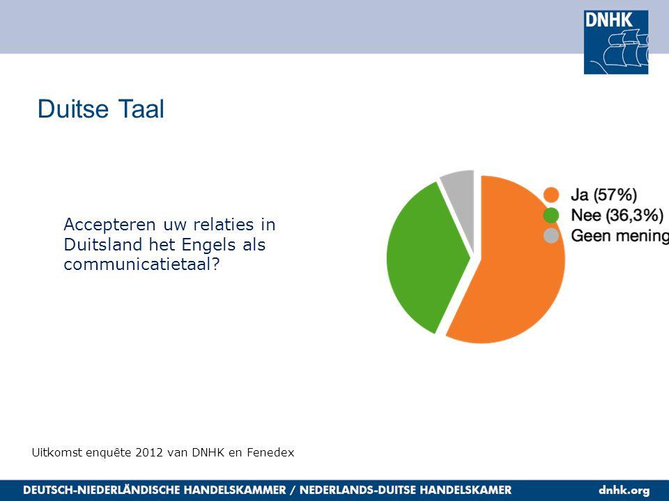 Duitse Taal Uitkomst enquête 2012 van DNHK en Fenedex Accepteren uw relaties in Duitsland het Engels als communicatietaal