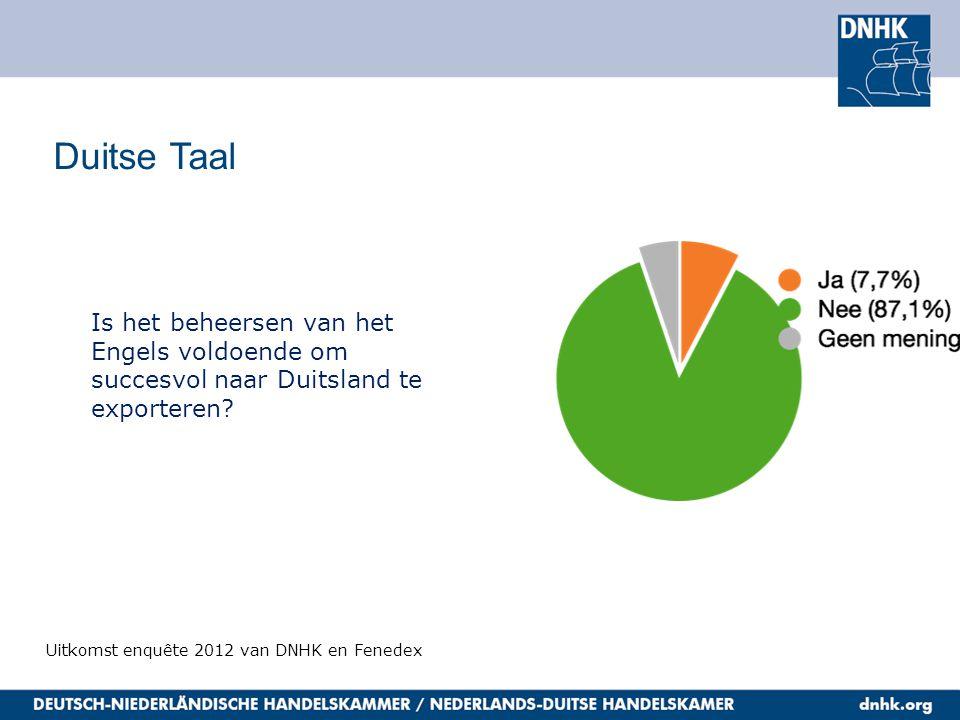 Duitse Taal Uitkomst enquête 2012 van DNHK en Fenedex Is het beheersen van het Engels voldoende om succesvol naar Duitsland te exporteren