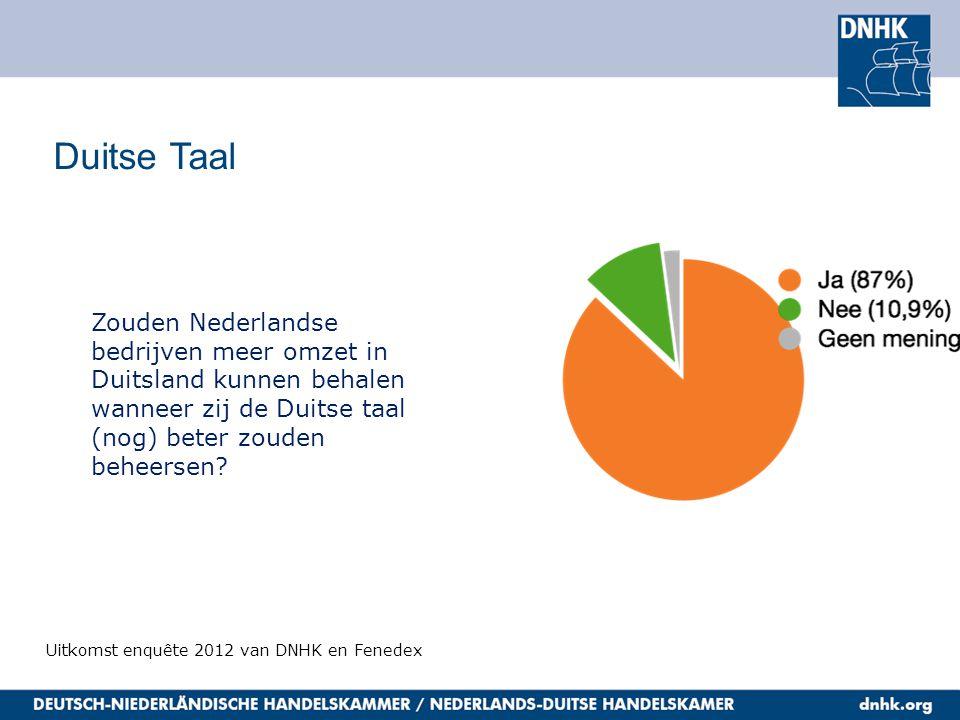 Duitse Taal Uitkomst enquête 2012 van DNHK en Fenedex Zouden Nederlandse bedrijven meer omzet in Duitsland kunnen behalen wanneer zij de Duitse taal (nog) beter zouden beheersen