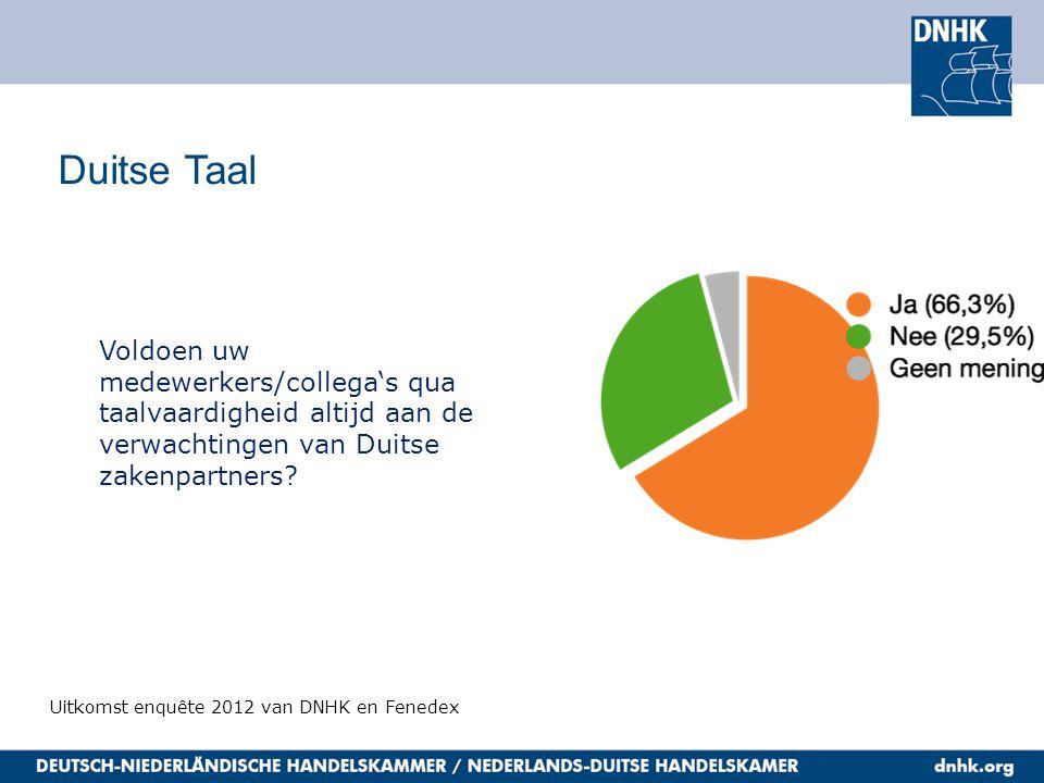 Duitse Taal Uitkomst enquête 2012 van DNHK en Fenedex Voldoen uw medewerkers/collega's qua taalvaardigheid altijd aan de verwachtingen van Duitse zake