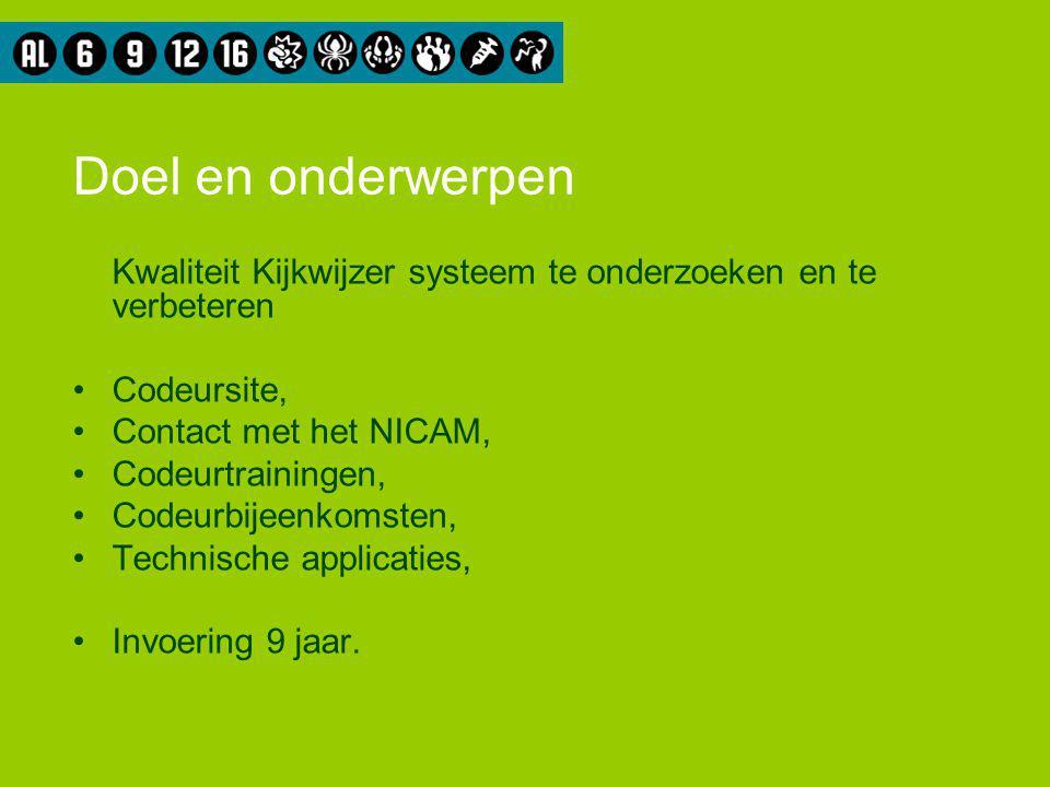 Doel en onderwerpen Kwaliteit Kijkwijzer systeem te onderzoeken en te verbeteren Codeursite, Contact met het NICAM, Codeurtrainingen, Codeurbijeenkomsten, Technische applicaties, Invoering 9 jaar.