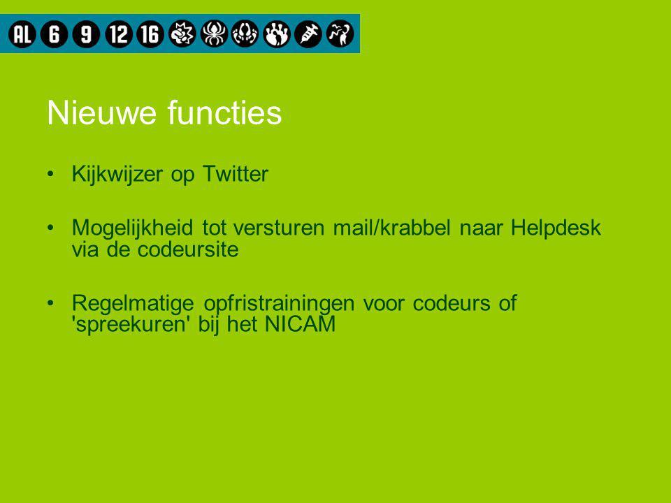 Nieuwe functies Kijkwijzer op Twitter Mogelijkheid tot versturen mail/krabbel naar Helpdesk via de codeursite Regelmatige opfristrainingen voor codeur