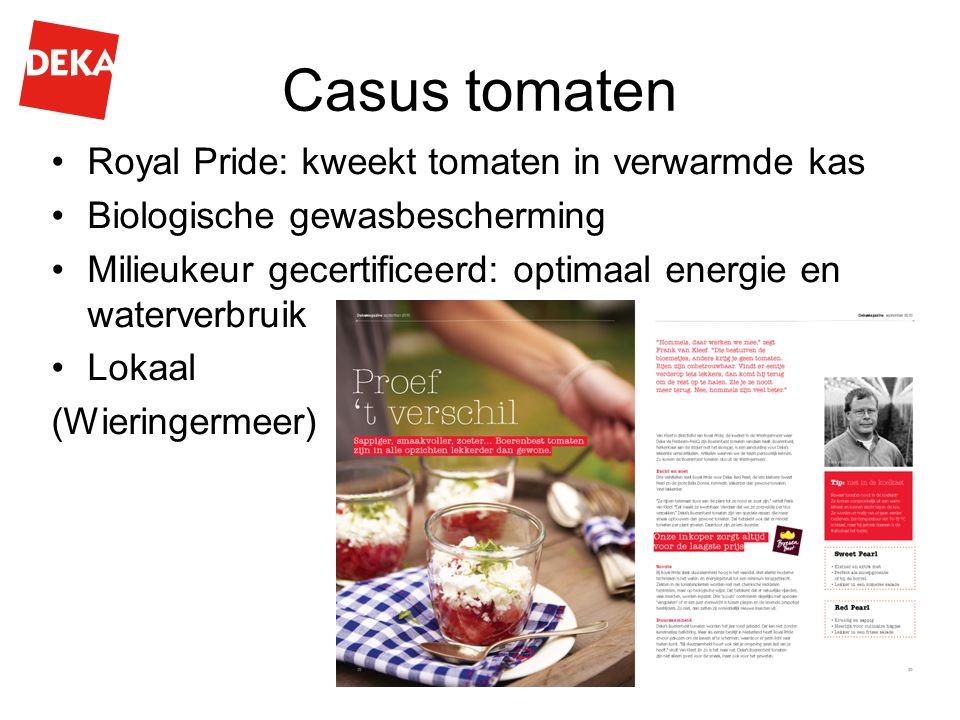 Casus tomaten Royal Pride: kweekt tomaten in verwarmde kas Biologische gewasbescherming Milieukeur gecertificeerd: optimaal energie en waterverbruik Lokaal (Wieringermeer)