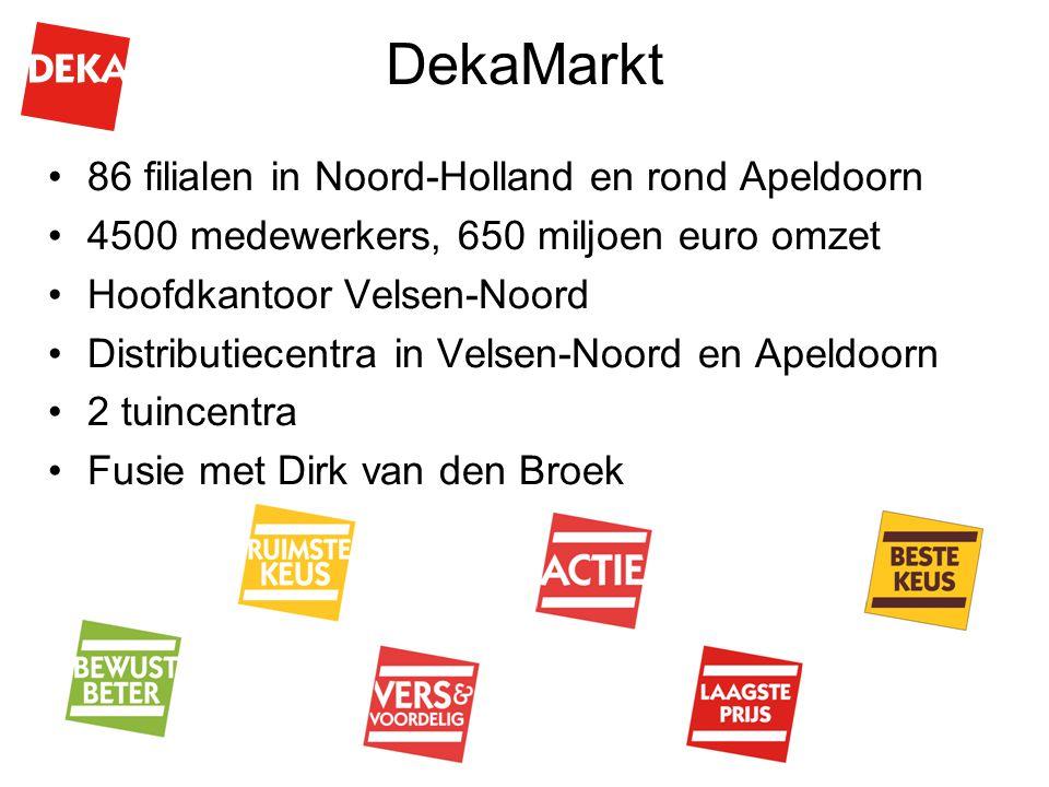 DekaMarkt 86 filialen in Noord-Holland en rond Apeldoorn 4500 medewerkers, 650 miljoen euro omzet Hoofdkantoor Velsen-Noord Distributiecentra in Velse