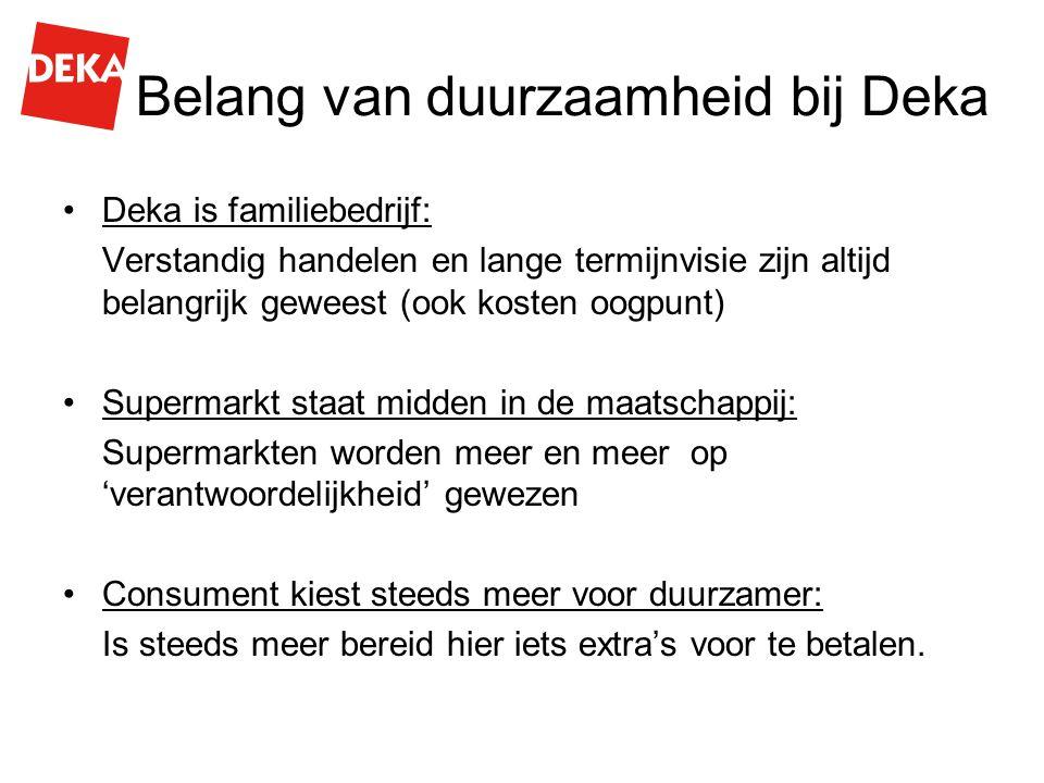 Belang van duurzaamheid bij Deka Deka is familiebedrijf: Verstandig handelen en lange termijnvisie zijn altijd belangrijk geweest (ook kosten oogpunt)