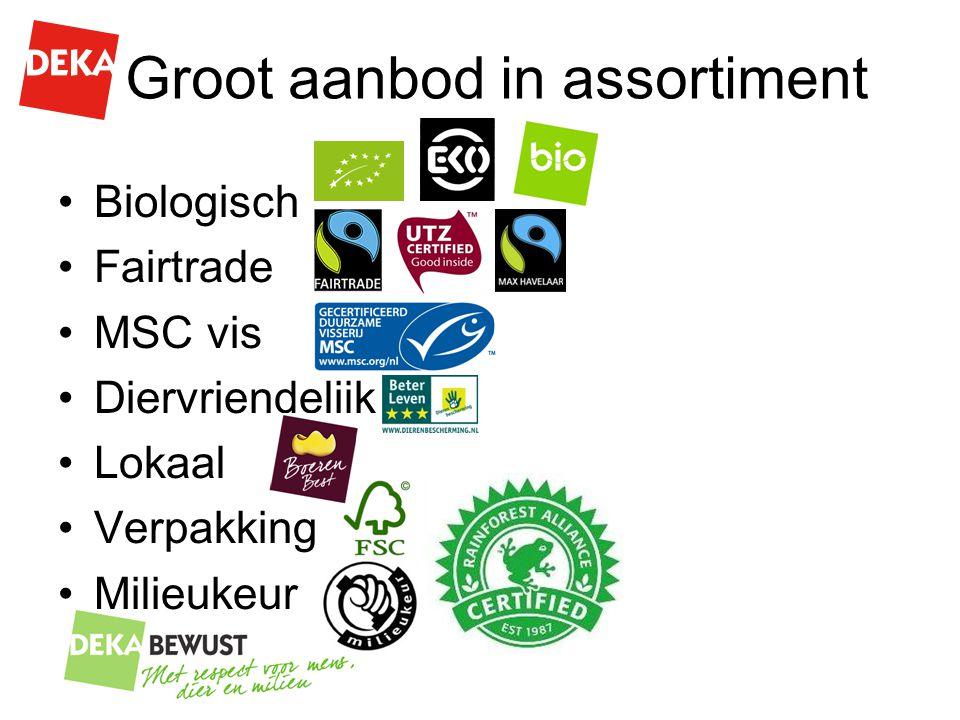 Groot aanbod in assortiment Biologisch Fairtrade MSC vis Diervriendelijk Lokaal Verpakking Milieukeur