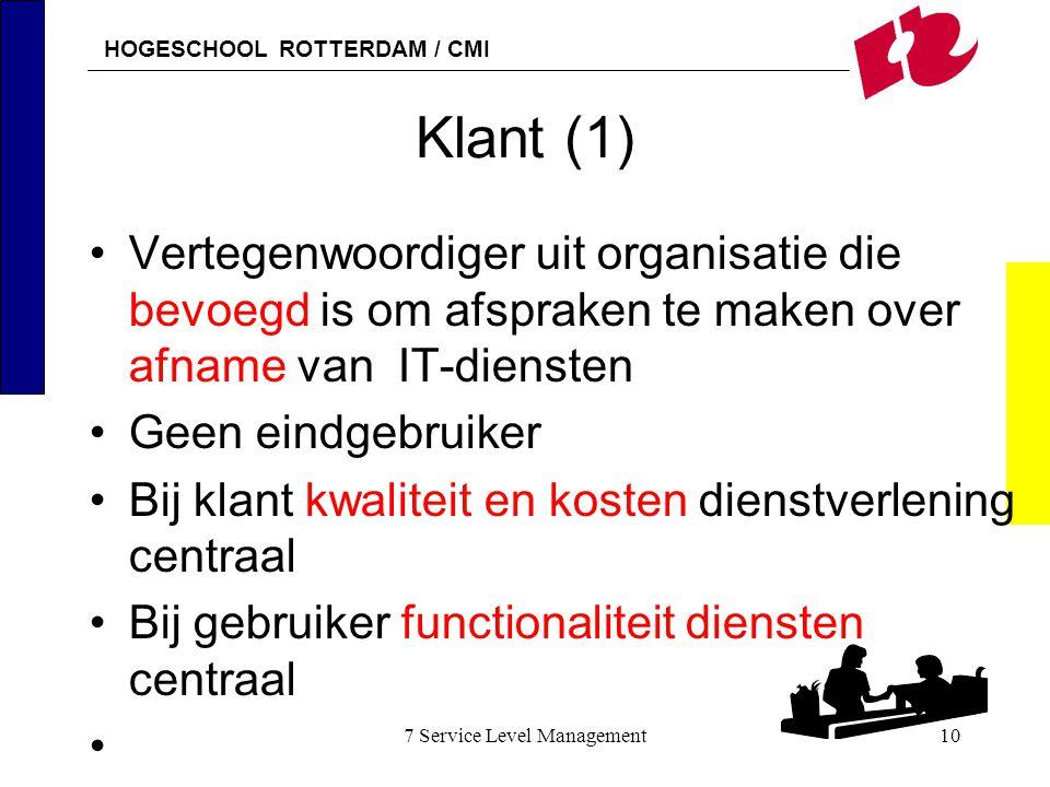 HOGESCHOOL ROTTERDAM / CMI 7 Service Level Management10 Klant (1) Vertegenwoordiger uit organisatie die bevoegd is om afspraken te maken over afname v
