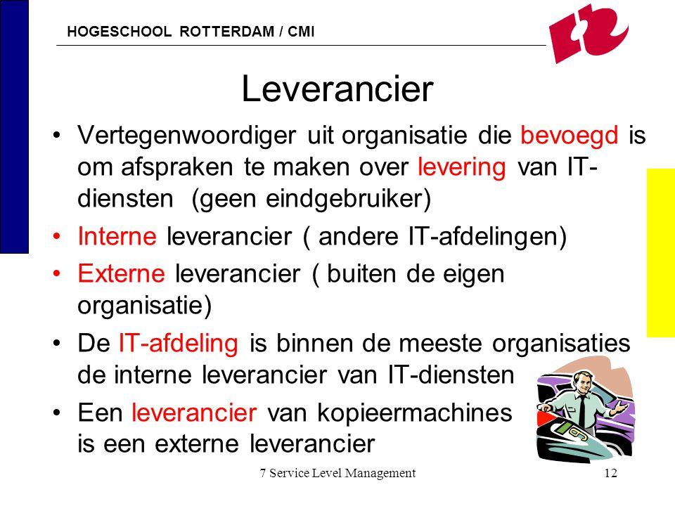 HOGESCHOOL ROTTERDAM / CMI 7 Service Level Management12 Leverancier Vertegenwoordiger uit organisatie die bevoegd is om afspraken te maken over leveri