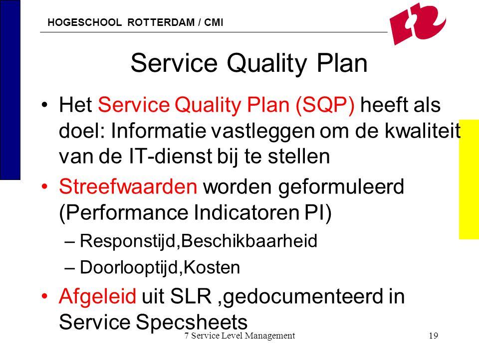 HOGESCHOOL ROTTERDAM / CMI 7 Service Level Management19 Service Quality Plan Het Service Quality Plan (SQP) heeft als doel: Informatie vastleggen om d