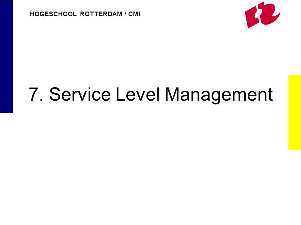 HOGESCHOOL ROTTERDAM / CMI 7 Service Level Management43 Relatie met andere processen (2) Availability Management ontvangt van SLM informatie over de gewenste beschikbaarheid en levert informatie over gerealiseerde beschikbaarheid