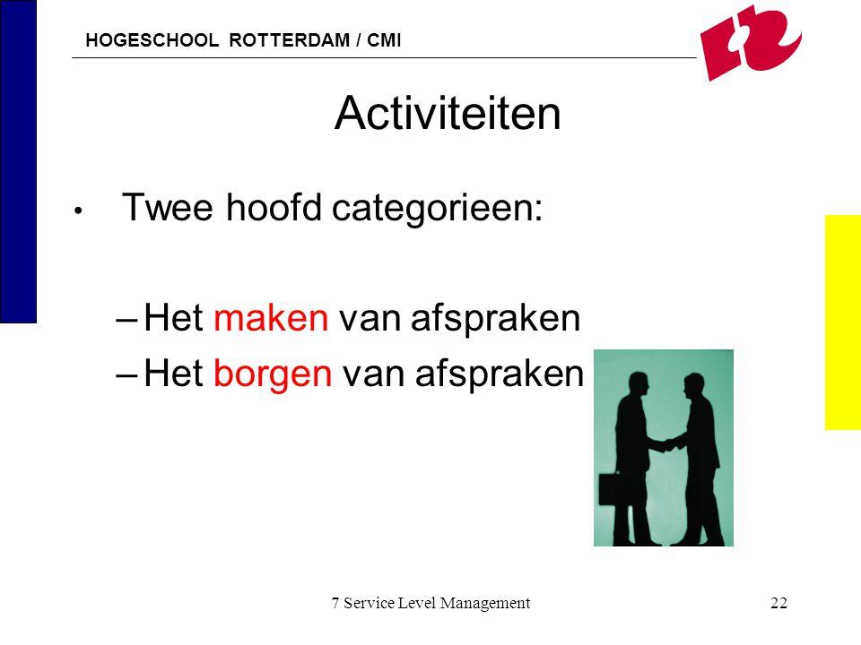 HOGESCHOOL ROTTERDAM / CMI 7 Service Level Management22 Activiteiten Twee hoofd categorieen: –Het maken van afspraken –Het borgen van afspraken