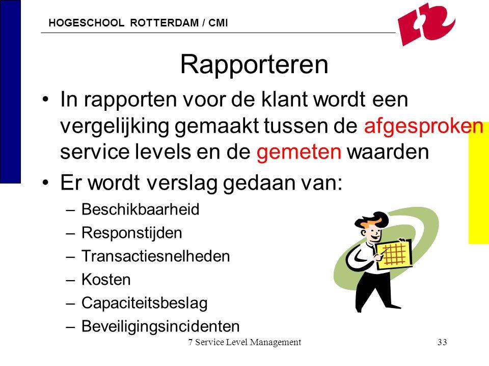 HOGESCHOOL ROTTERDAM / CMI 7 Service Level Management33 Rapporteren In rapporten voor de klant wordt een vergelijking gemaakt tussen de afgesproken se