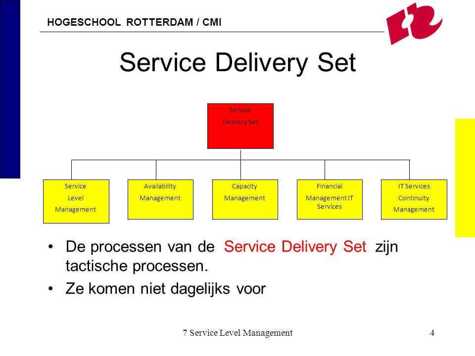 HOGESCHOOL ROTTERDAM / CMI 7 Service Level Management5 Service Level management Service Delivery Set is verantwoordelijk voor jaarplannen en contracten Belangrijkste taak is het maken van planningen Periodiek, meestal 1 keer per jaar SLM is verantwoordelijk voor contract tussen klant en leverancier