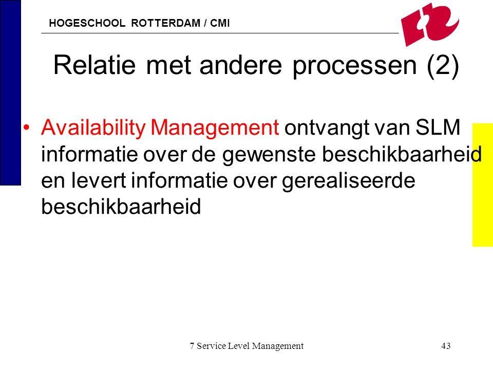 HOGESCHOOL ROTTERDAM / CMI 7 Service Level Management43 Relatie met andere processen (2) Availability Management ontvangt van SLM informatie over de g
