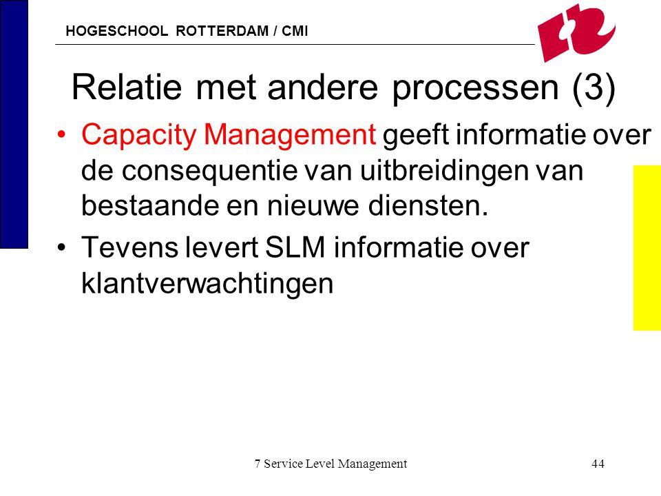 HOGESCHOOL ROTTERDAM / CMI 7 Service Level Management44 Relatie met andere processen (3) Capacity Management geeft informatie over de consequentie van