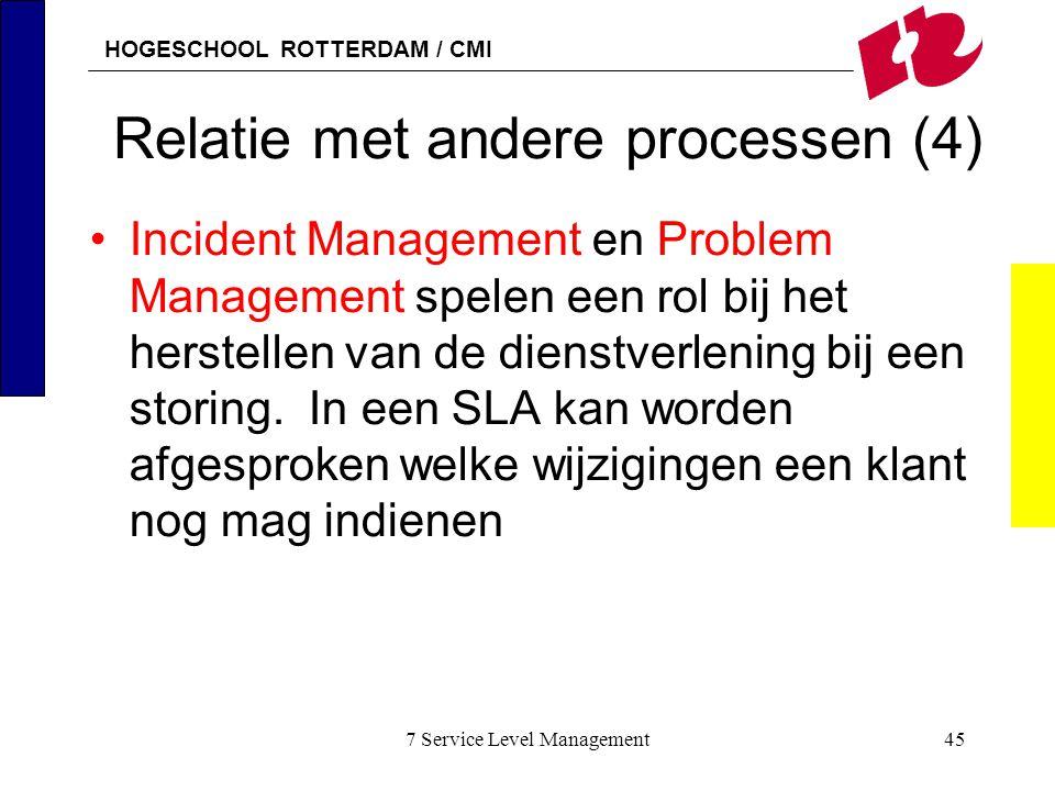 HOGESCHOOL ROTTERDAM / CMI 7 Service Level Management45 Relatie met andere processen (4) Incident Management en Problem Management spelen een rol bij