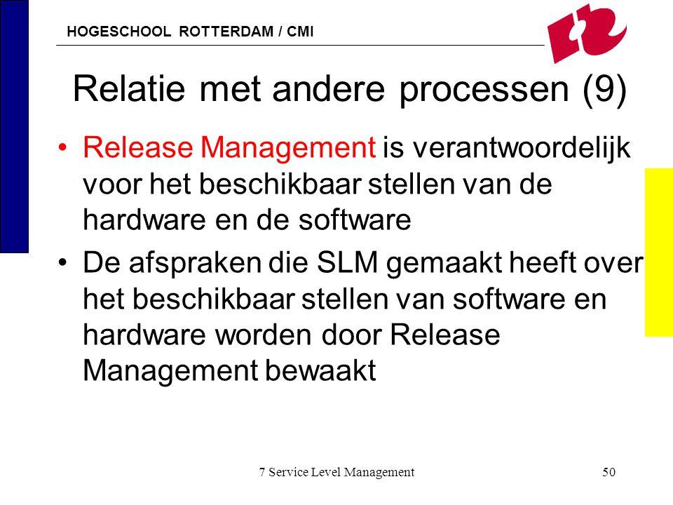 HOGESCHOOL ROTTERDAM / CMI 7 Service Level Management50 Relatie met andere processen (9) Release Management is verantwoordelijk voor het beschikbaar s