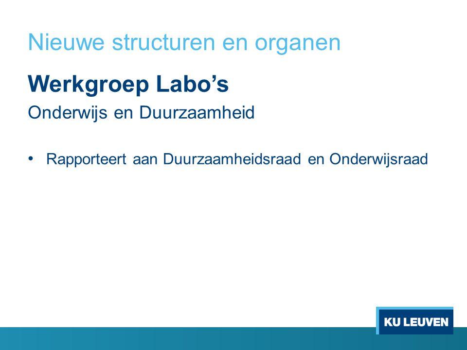 Nieuwe structuren en organen Werkgroep Labo's Onderwijs en Duurzaamheid Rapporteert aan Duurzaamheidsraad en Onderwijsraad