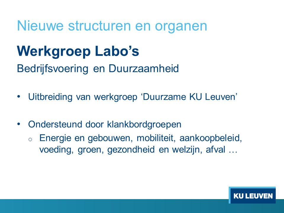 Nieuwe structuren en organen Werkgroep Labo's Bedrijfsvoering en Duurzaamheid Uitbreiding van werkgroep 'Duurzame KU Leuven' Ondersteund door klankbordgroepen o Energie en gebouwen, mobiliteit, aankoopbeleid, voeding, groen, gezondheid en welzijn, afval …