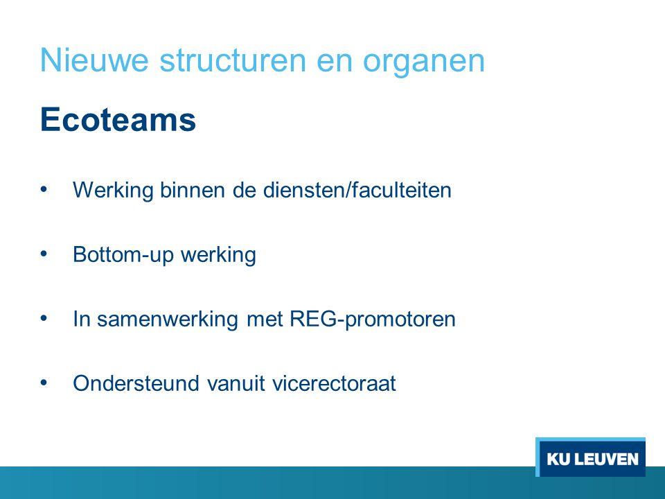 Nieuwe structuren en organen Ecoteams Werking binnen de diensten/faculteiten Bottom-up werking In samenwerking met REG-promotoren Ondersteund vanuit vicerectoraat
