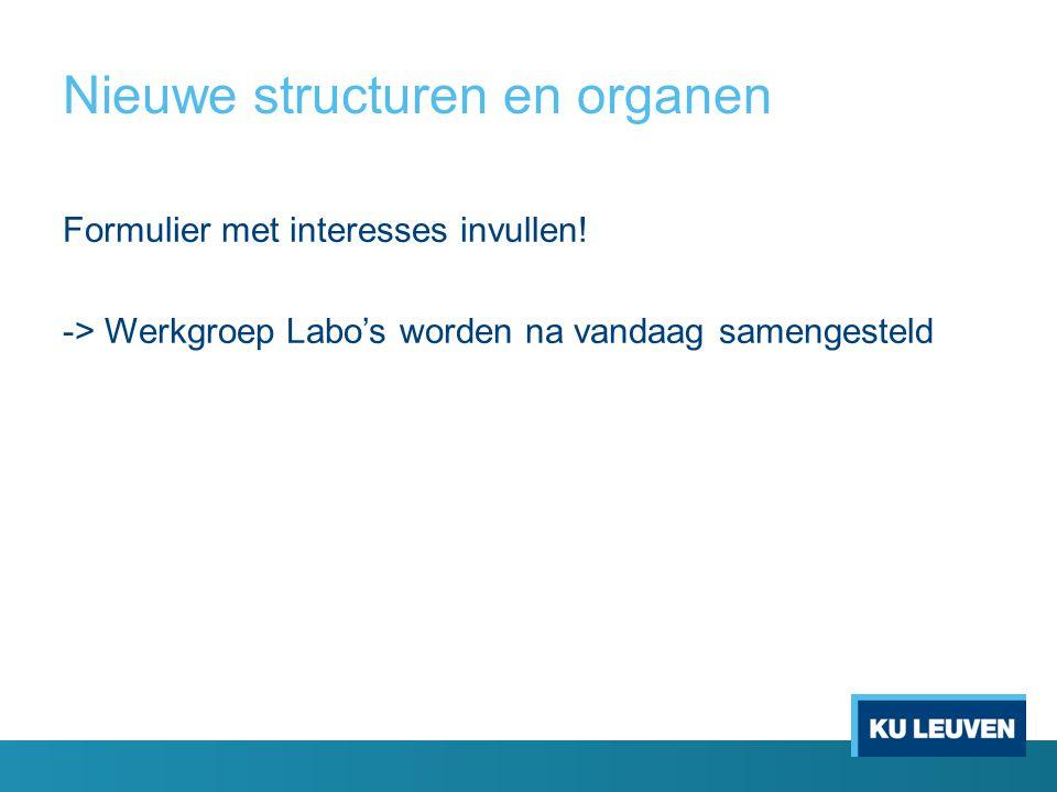Nieuwe structuren en organen Formulier met interesses invullen.