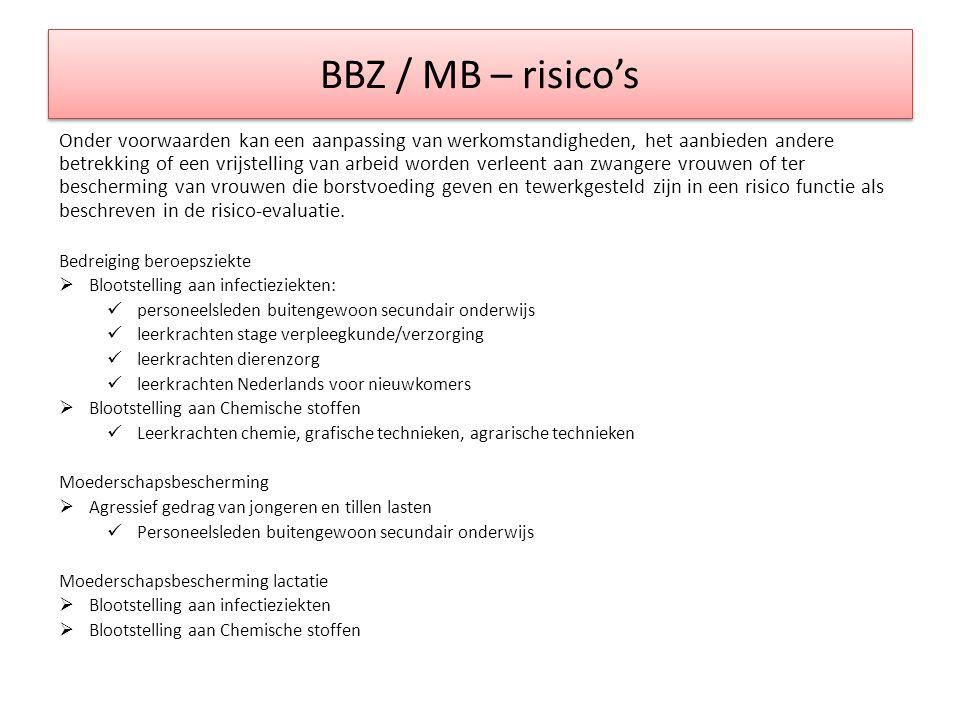 BBZ / MB – risico's Onder voorwaarden kan een aanpassing van werkomstandigheden, het aanbieden andere betrekking of een vrijstelling van arbeid worden