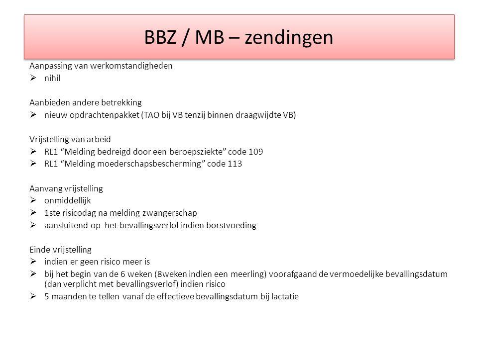 BBZ / MB – zendingen Aanpassing van werkomstandigheden  nihil Aanbieden andere betrekking  nieuw opdrachtenpakket (TAO bij VB tenzij binnen draagwij