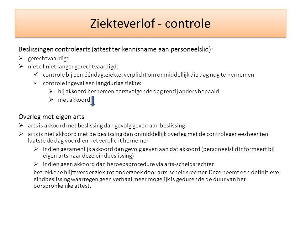 Ziekteverlof - controle Beslissingen controlearts (attest ter kennisname aan personeelslid):  gerechtvaardigd  niet of niet langer gerechtvaardigd: