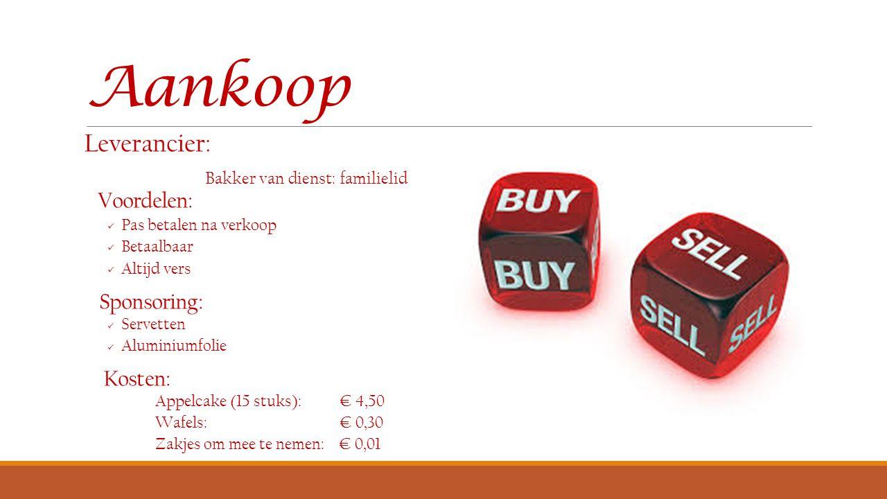 Verkoopprijs:  Stukje appelcake: € 0,90  Wafel: € 0,70 Mogelijk om producten mee te nemen
