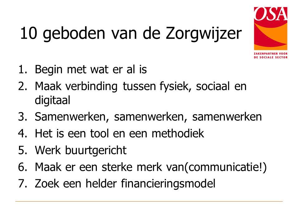 10 geboden van de Zorgwijzer 1.Begin met wat er al is 2.Maak verbinding tussen fysiek, sociaal en digitaal 3.Samenwerken, samenwerken, samenwerken 4.H