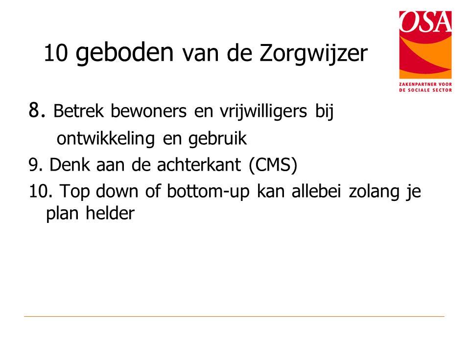10 geboden van de Zorgwijzer 8. Betrek bewoners en vrijwilligers bij ontwikkeling en gebruik 9. Denk aan de achterkant (CMS) 10. Top down of bottom-up