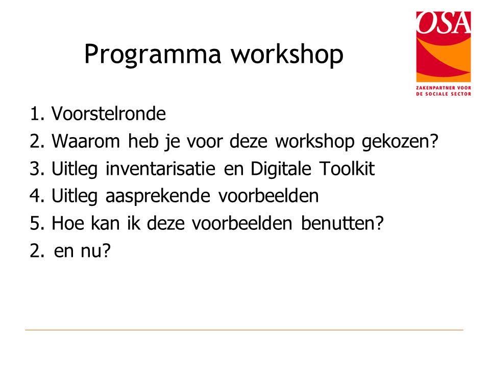 Programma workshop 1. Voorstelronde 2. Waarom heb je voor deze workshop gekozen.