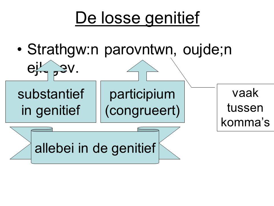 De losse genitief Strathgw:n parovntwn, oujde;n ejlegev. substantief in genitief participium (congrueert) allebei in de genitief vaak tussen komma's