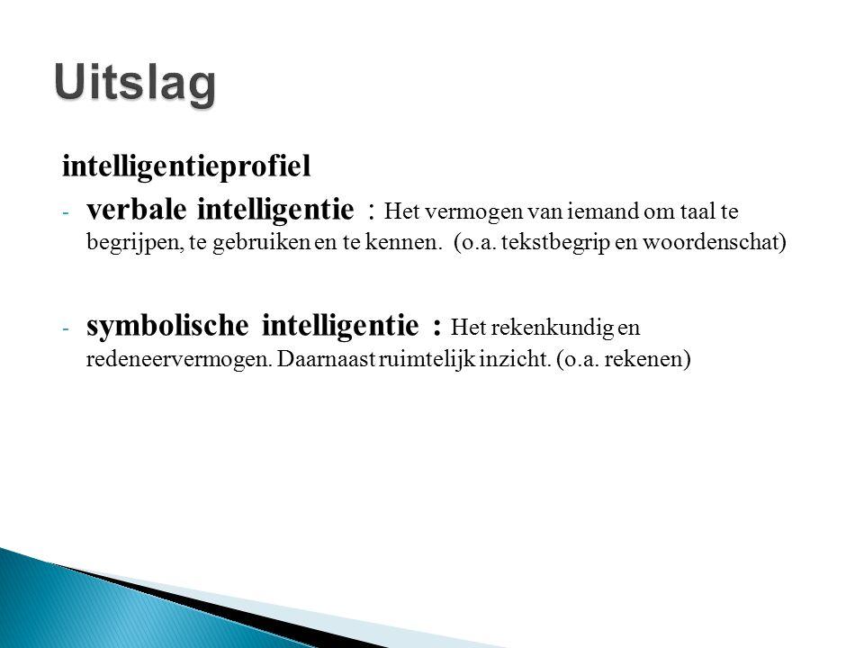 intelligentieprofiel - verbale intelligentie : Het vermogen van iemand om taal te begrijpen, te gebruiken en te kennen. (o.a. tekstbegrip en woordensc