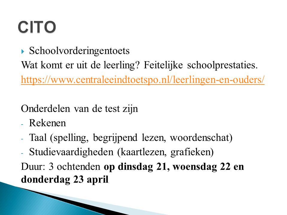  Schoolvorderingentoets Wat komt er uit de leerling? Feitelijke schoolprestaties. https://www.centraleeindtoetspo.nl/leerlingen-en-ouders/ Onderdelen