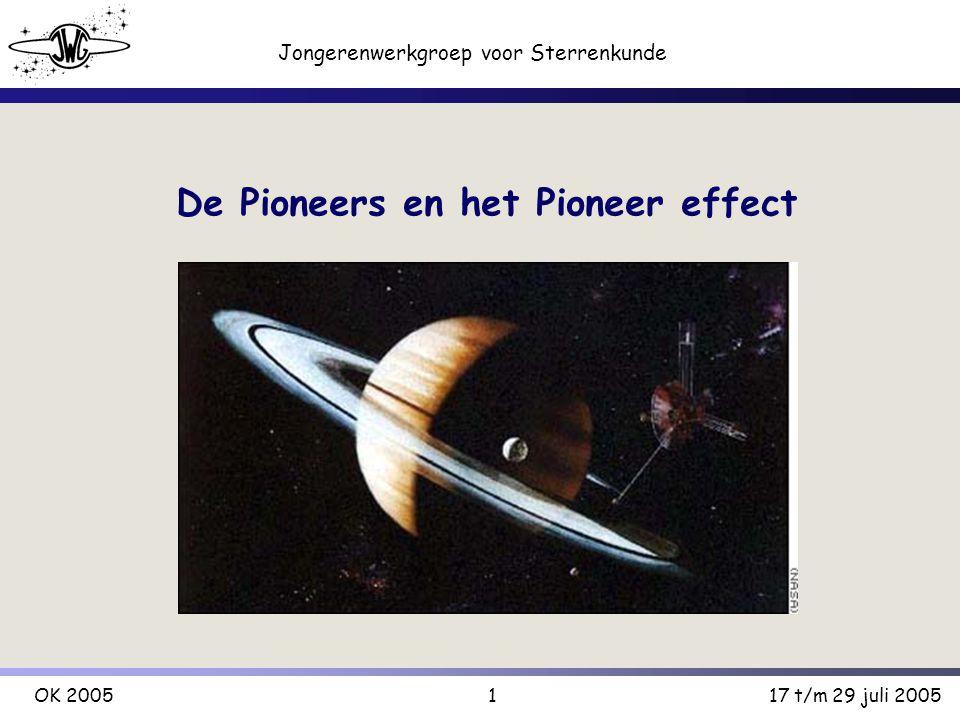 1 Jongerenwerkgroep voor Sterrenkunde OK 200517 t/m 29 juli 2005 De Pioneers en het Pioneer effect