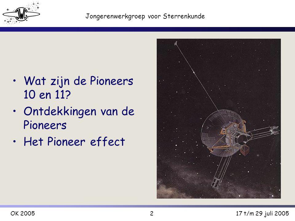 2 Jongerenwerkgroep voor Sterrenkunde OK 200517 t/m 29 juli 2005 Wat zijn de Pioneers 10 en 11.