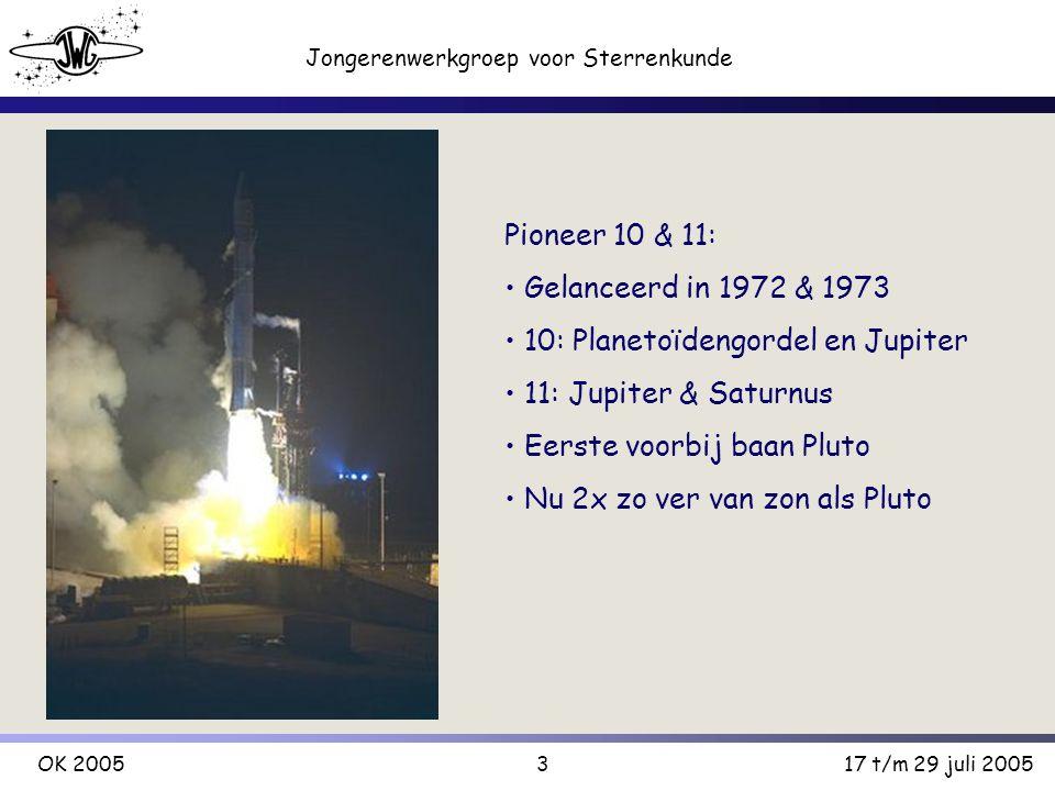 3 Jongerenwerkgroep voor Sterrenkunde OK 200517 t/m 29 juli 2005 Pioneer 10 & 11: Gelanceerd in 1972 & 1973 10: Planetoïdengordel en Jupiter 11: Jupiter & Saturnus Eerste voorbij baan Pluto Nu 2x zo ver van zon als Pluto