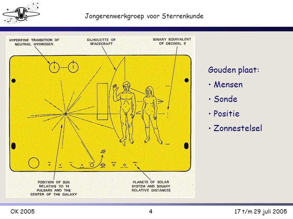 4 Jongerenwerkgroep voor Sterrenkunde OK 200517 t/m 29 juli 2005 Gouden plaat: Mensen Sonde Positie Zonnestelsel
