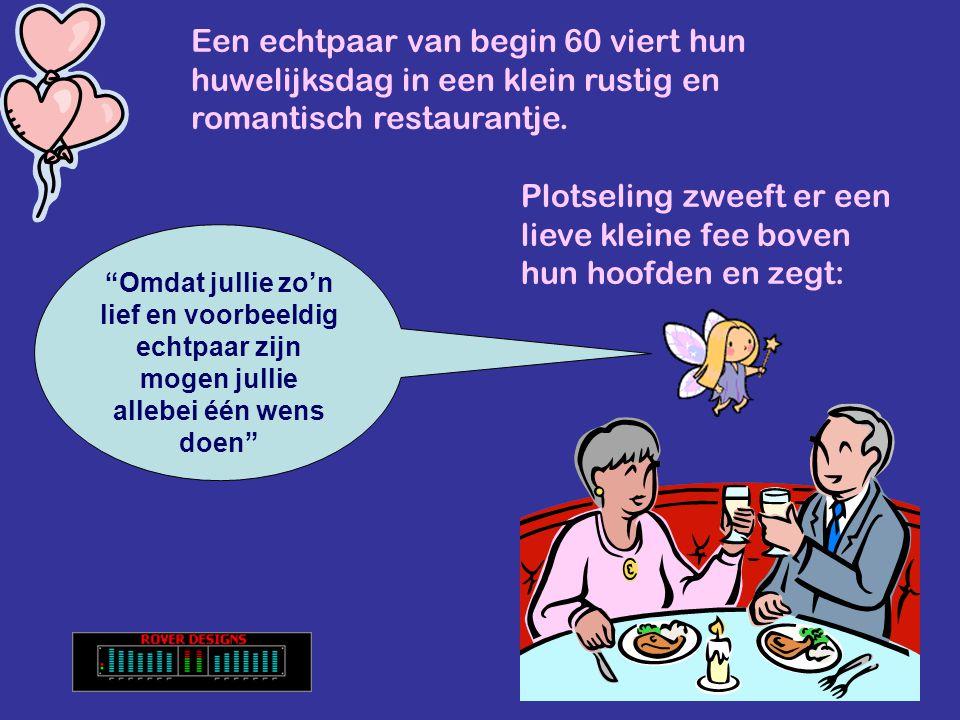 Een echtpaar van begin 60 viert hun huwelijksdag in een klein rustig en romantisch restaurantje.