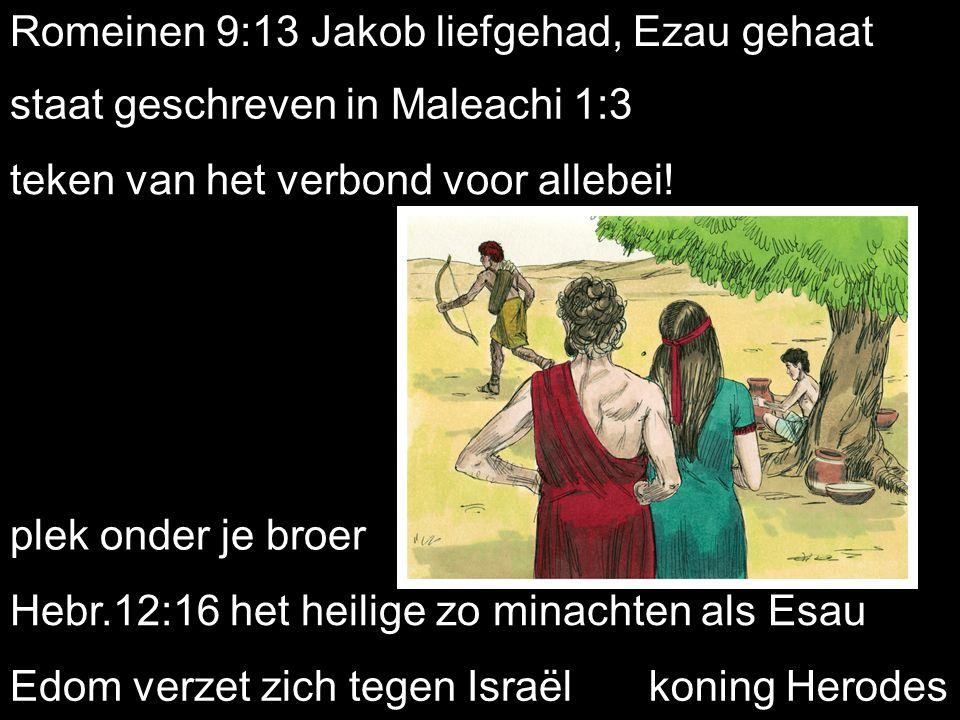 Romeinen 9:13 Jakob liefgehad, Ezau gehaat staat geschreven in Maleachi 1:3 teken van het verbond voor allebei.