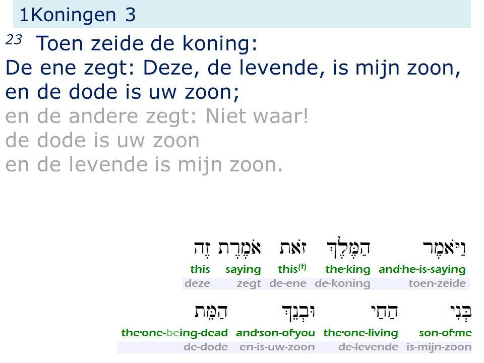 1Koningen 3 23 Toen zeide de koning: De ene zegt: Deze, de levende, is mijn zoon, en de dode is uw zoon; en de andere zegt: Niet waar.