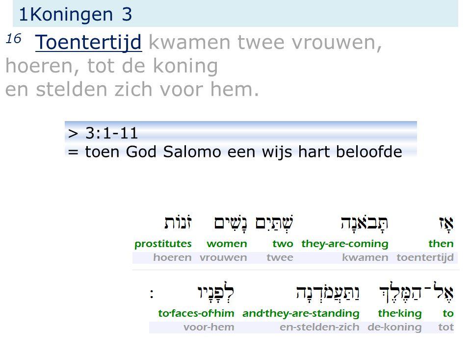 1Koningen 3 16 Toentertijd kwamen twee vrouwen, hoeren, tot de koning en stelden zich voor hem.