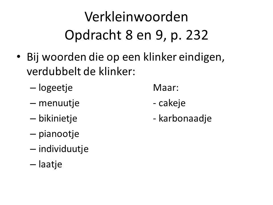 Verkleinwoorden Opdracht 8 en 9, p.