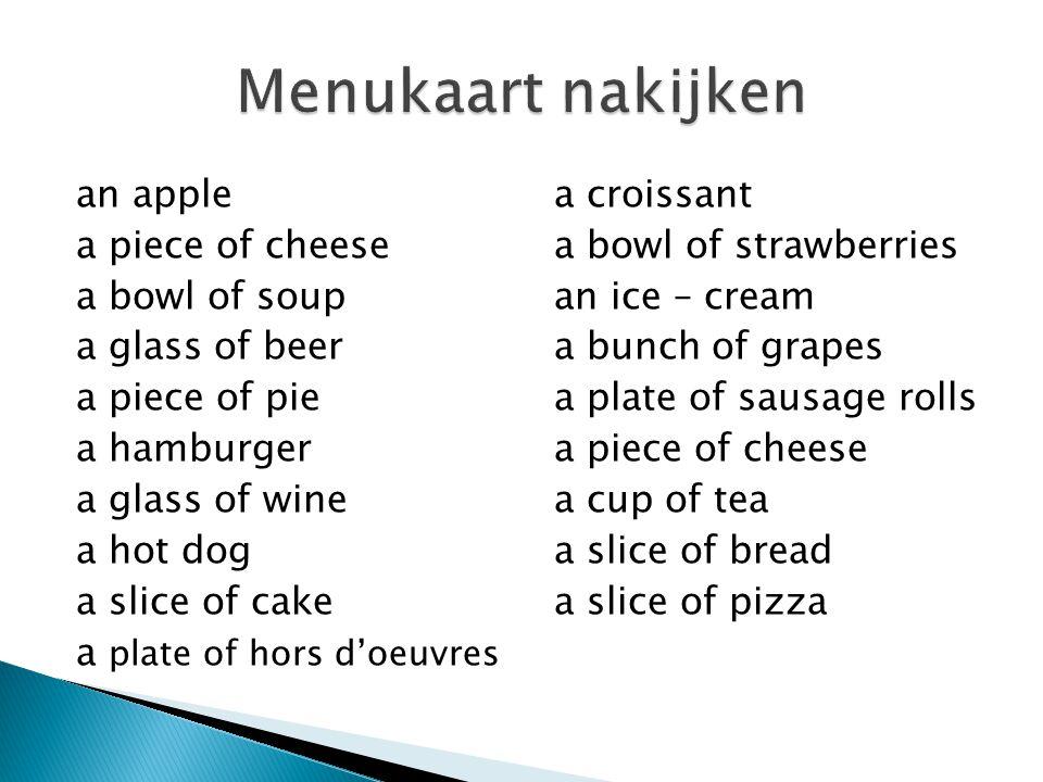 3)Iedereen kiest zelf 5 dingen van zijn of haar menu en zet er een cirkel omheen.