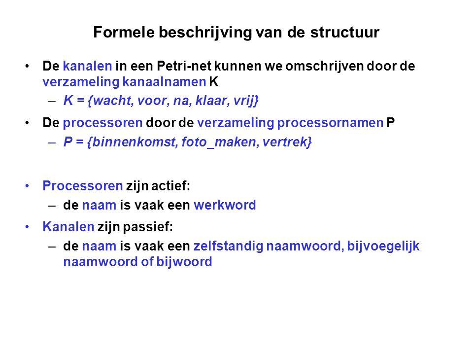 Formele beschrijving van de structuur De kanalen in een Petri-net kunnen we omschrijven door de verzameling kanaalnamen K –K = {wacht, voor, na, klaar