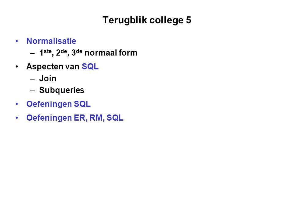 Terugblik college 5 Normalisatie – 1 ste, 2 de, 3 de normaal form Aspecten van SQL – Join – Subqueries Oefeningen SQL Oefeningen ER, RM, SQL