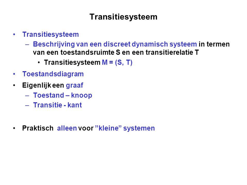 Transitiesysteem –Beschrijving van een discreet dynamisch systeem in termen van een toestandsruimte S en een transitierelatie T Transitiesysteem M = (